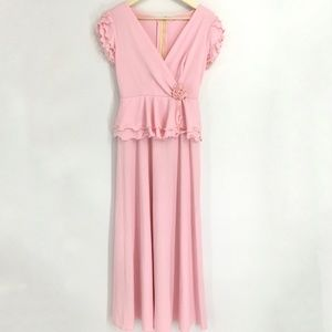 Vintage Pink V Neck Ruffle Sleeve Maxi Dress